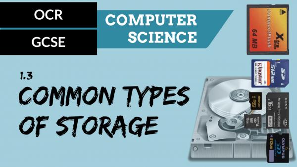 OCR GCSE SLR1.3 Common Types of Storage