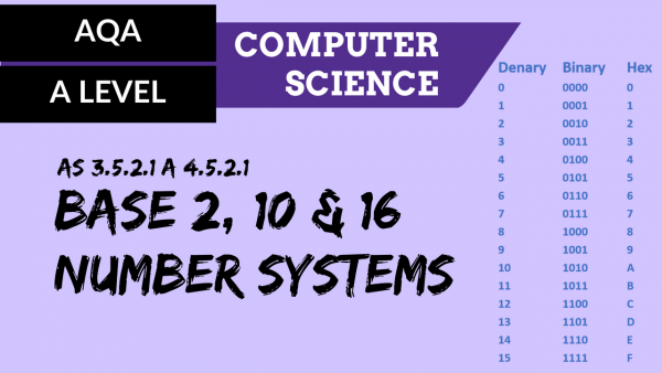 AQA A'Level SLR10 Base 2, 10 and 16 number systems