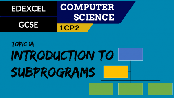 GCSE EDEXCEL Topic 1A Introduction to subprograms
